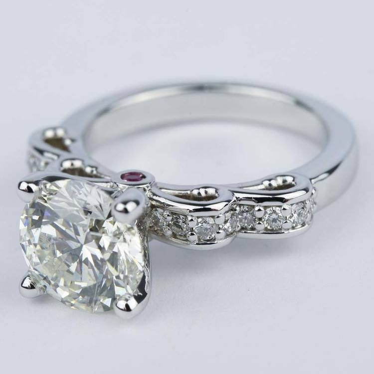 Cinderella Diamond Engagement Ring with Surprise Ruby (2.72 ct.) angle 2