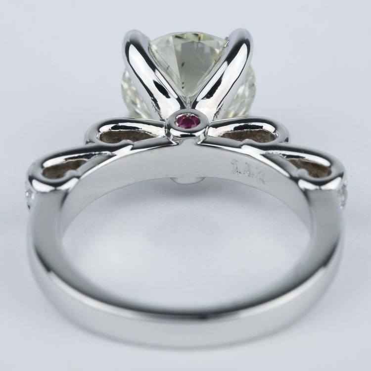 Cinderella Diamond Engagement Ring with Surprise Ruby (2.72 ct.) angle 4