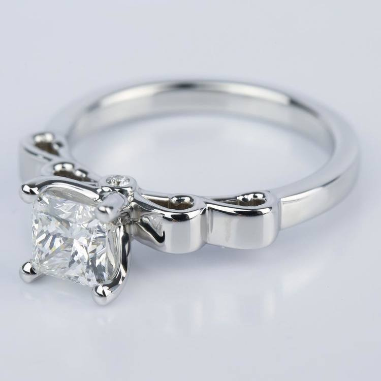 Cinderella Ribbon Engagement Ring with Princess Diamond angle 2