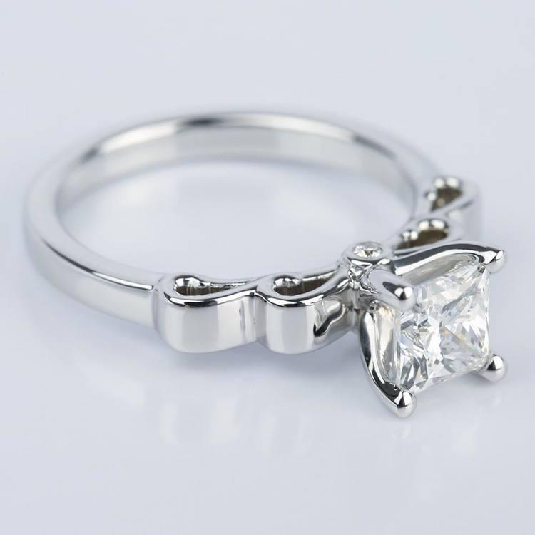 Cinderella Ribbon Engagement Ring with Princess Diamond angle 3