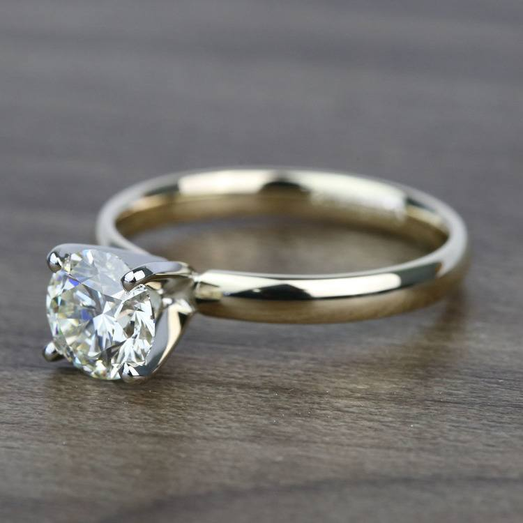 Classic 1.20 Carat Round Solitaire Diamond Engagement Ring angle 2
