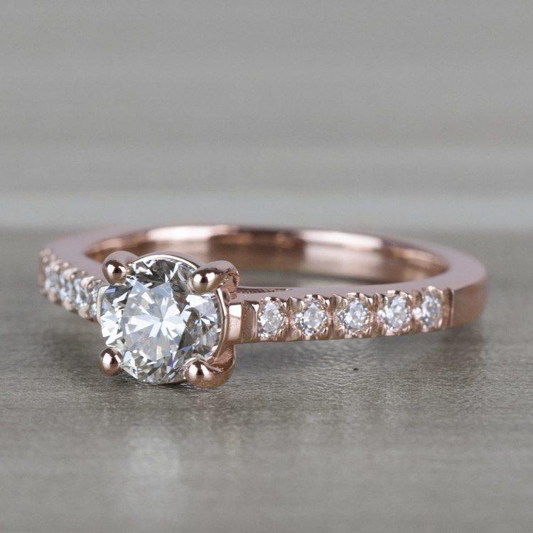 Classic 1 Carat Rose Gold Trellis Diamond Engagement Ring  angle 2