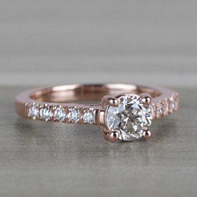 Classic 1 Carat Rose Gold Trellis Diamond Engagement Ring  angle 3
