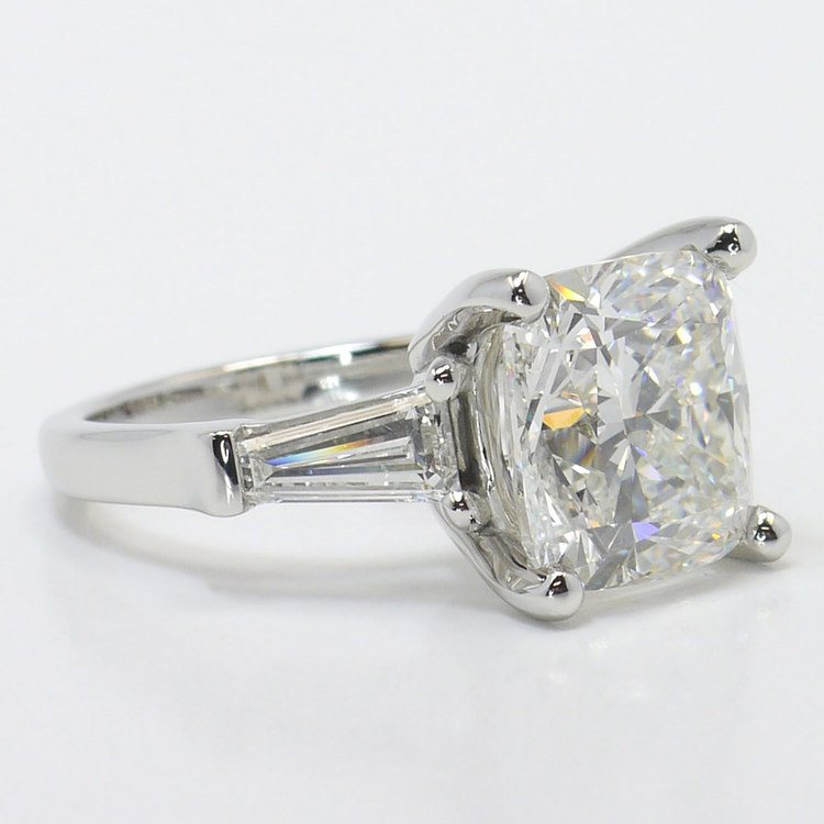 6 Carat Cushion & Baguette Diamond Engagement Ring angle 3