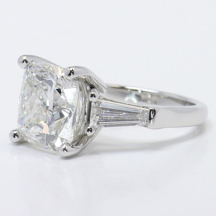 6 Carat Cushion & Baguette Diamond Engagement Ring angle 2
