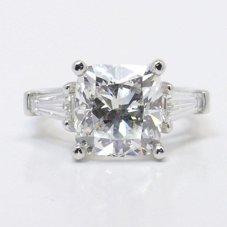 6 Carat Cushion & Baguette Diamond Engagement Ring