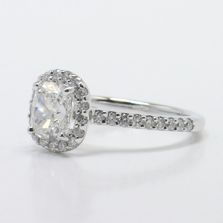1 Carat Cushion Halo Diamond Engagement Ring angle 2