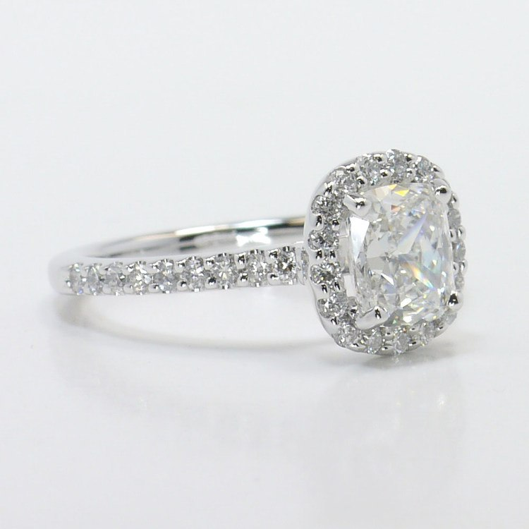 1 Carat Cushion Halo Diamond Engagement Ring angle 4