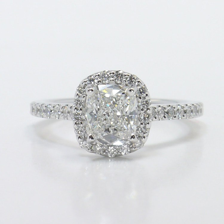1 Carat Cushion Halo Diamond Engagement Ring