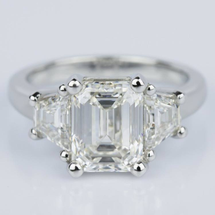 Classic Emerald Diamond Ring with Accent Trapezoids (3.00 ct.)