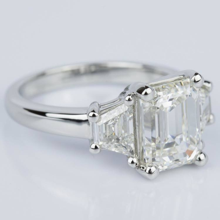 Classic Emerald Diamond Ring with Accent Trapezoids (3.00 ct.) angle 3