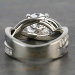 Custom Meteorite Engagement Ring with Moissanite Center - small angle 4