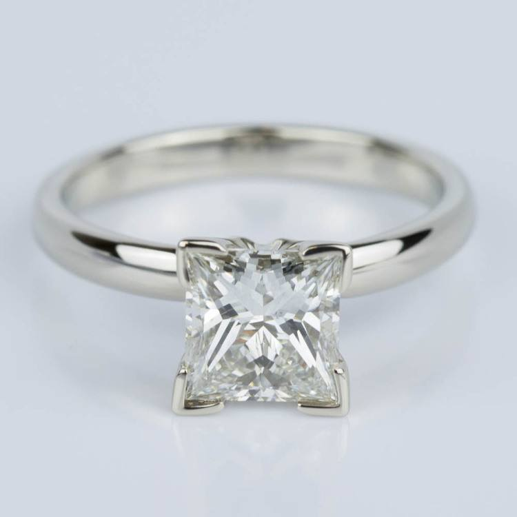 Classic Princess Diamond Engagement Ring in White Gold (1.26 ct.)