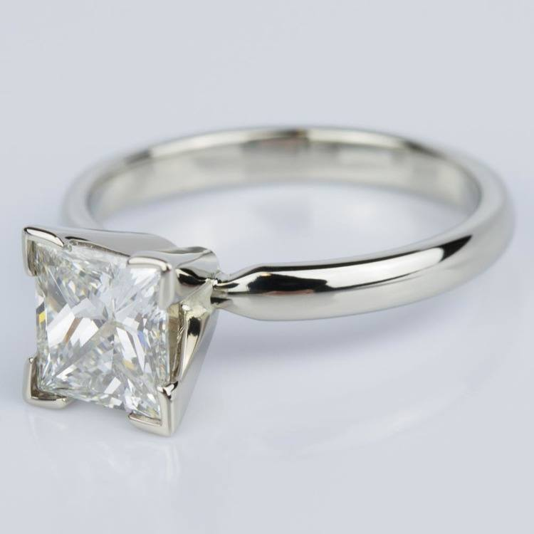 Classic Princess Diamond Engagement Ring in White Gold (1.26 ct.) angle 2