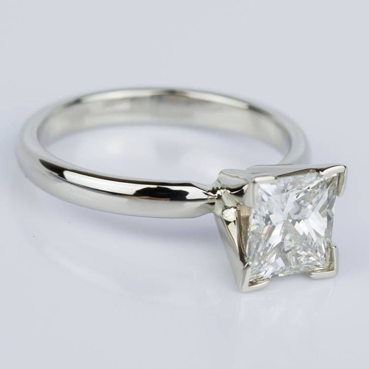 Classic Princess Diamond Engagement Ring in White Gold (1.26 ct.) angle 3