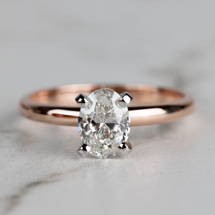 Classic Rose Gold Oval Diamond Solitaire Engagement Ring