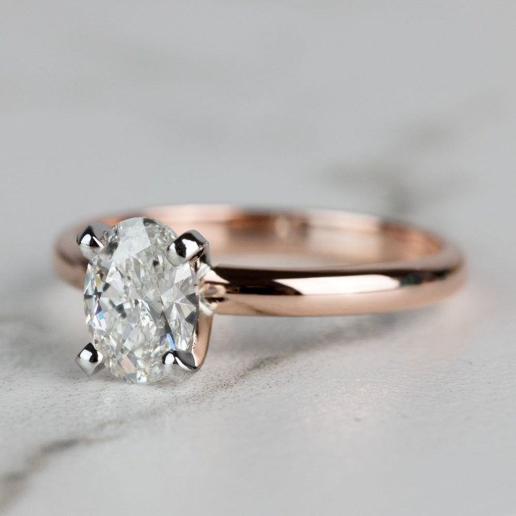 Classic Rose Gold Oval Diamond Solitaire Engagement Ring angle 2