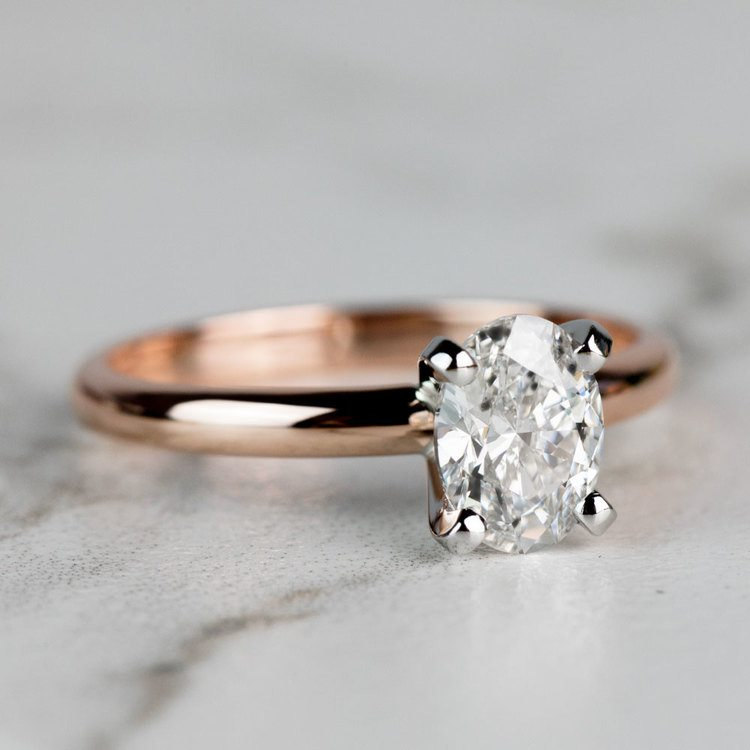 Classic Rose Gold Oval Diamond Solitaire Engagement Ring angle 3