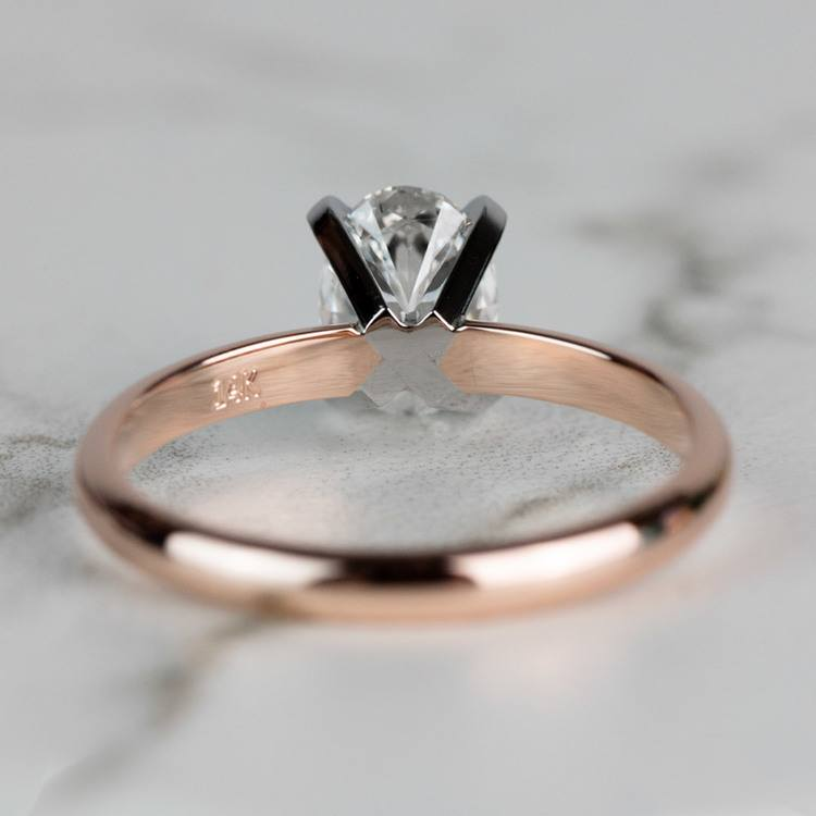 Classic Rose Gold Oval Diamond Solitaire Engagement Ring angle 4
