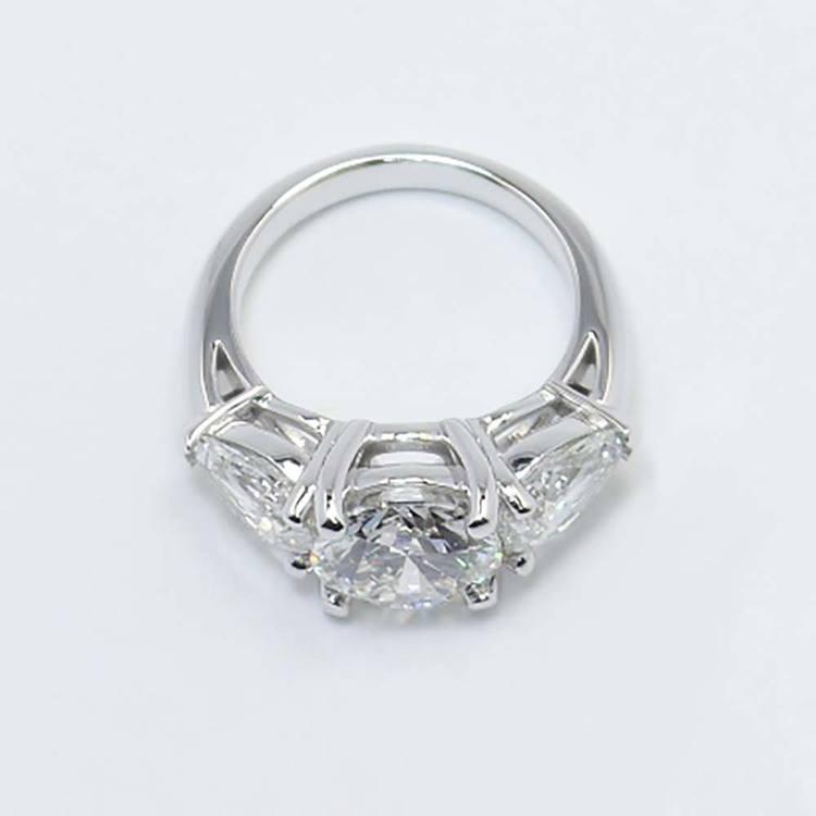 2 Carat Round & Pear Diamond Engagement Ring angle 4