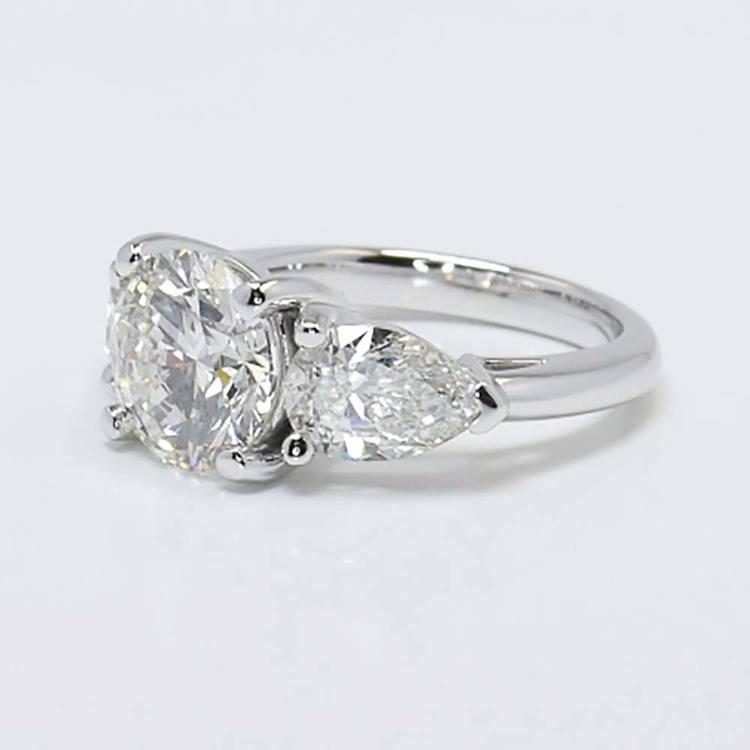 2 Carat Round & Pear Diamond Engagement Ring angle 2