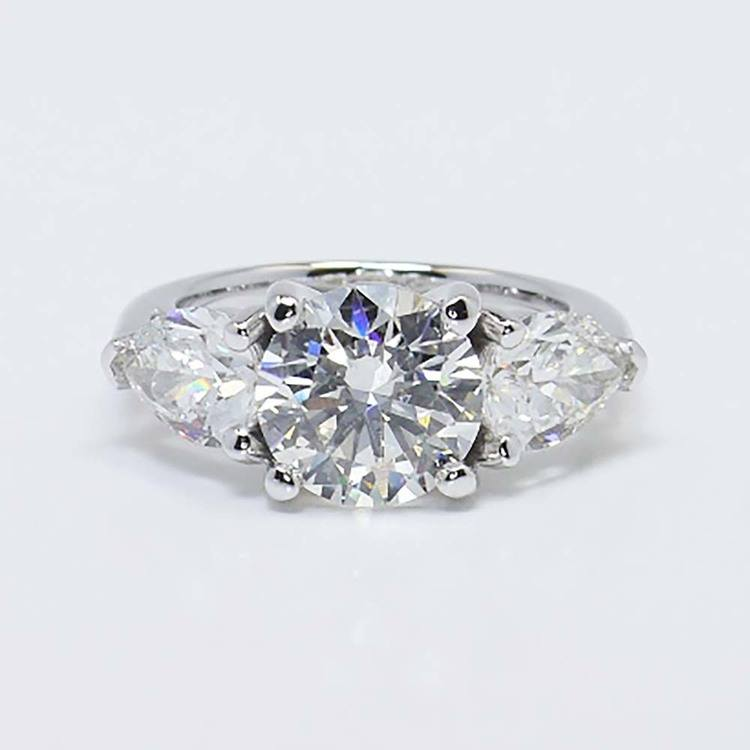 2 Carat Round & Pear Diamond Engagement Ring