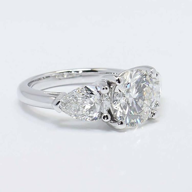 2 Carat Round & Pear Diamond Engagement Ring angle 3
