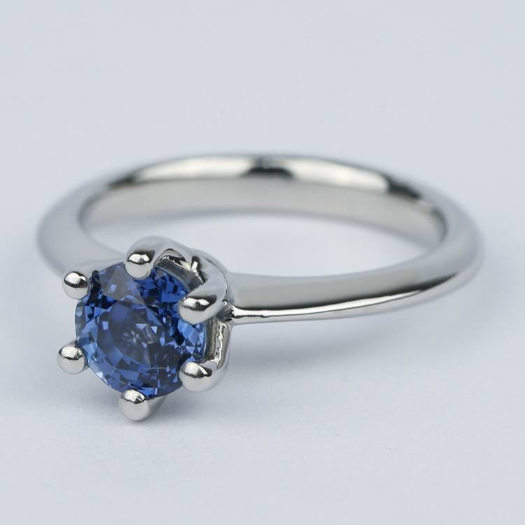 Classic Six-Prong Sapphire Gemstone Engagement Ring angle 2