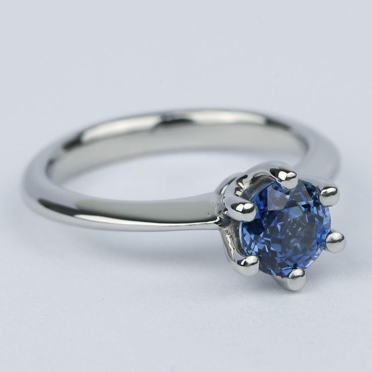 Classic Six-Prong Sapphire Gemstone Engagement Ring angle 3