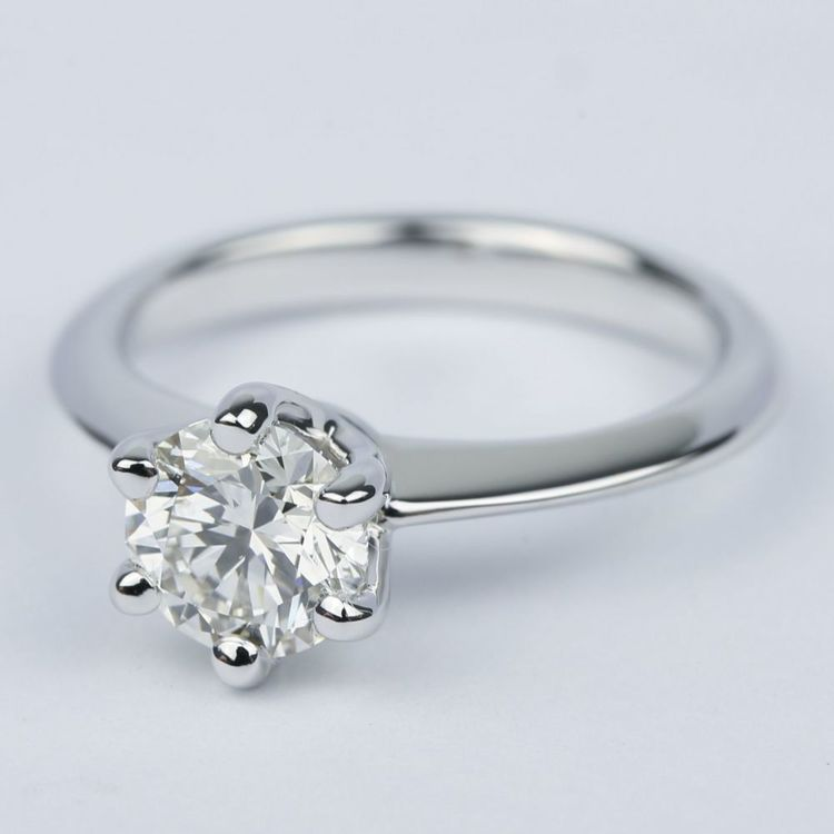 1 Carat Round Diamond Solitaire Engagement Ring angle 2