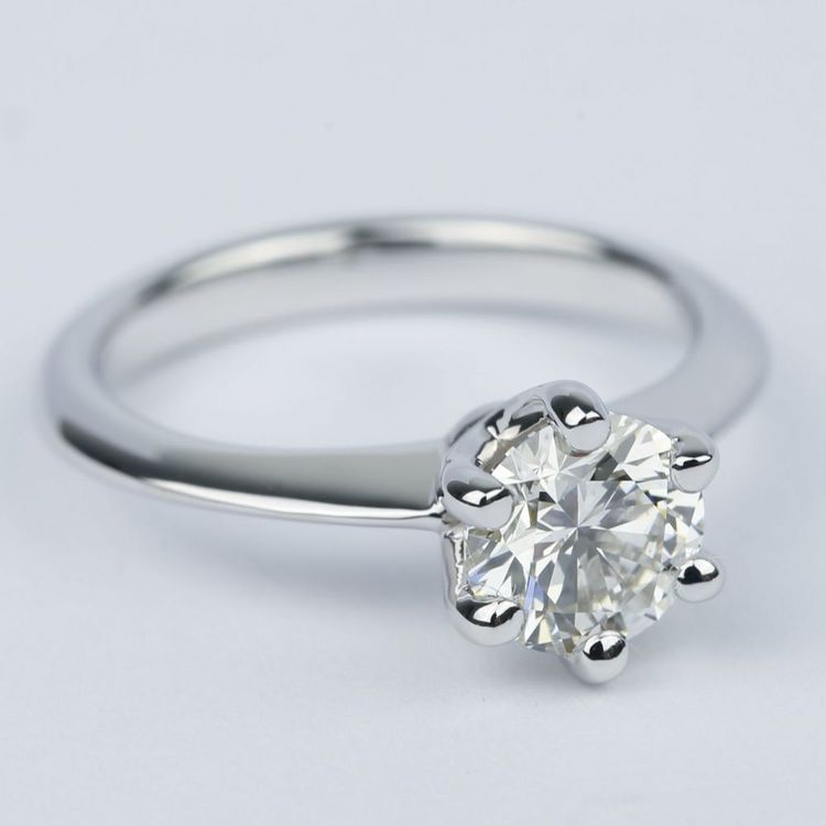 1 Carat Round Diamond Solitaire Engagement Ring angle 3