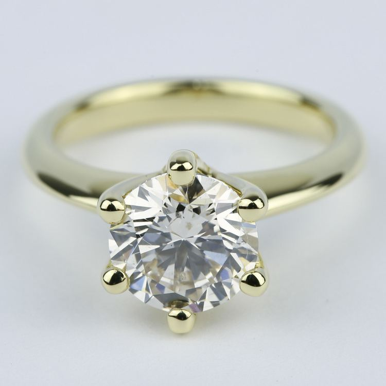 Classic Engagement Ring with M Color Diamond (2 Carat)