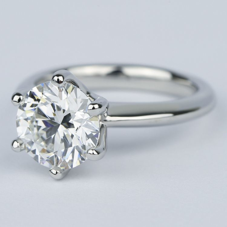 2.50 Carat Colorless Round Diamond Engagement Ring angle 2