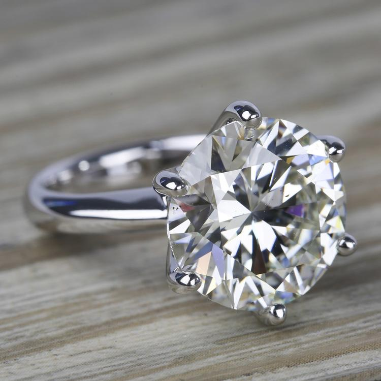 7 Carat Round Diamond Solitaire Engagement Ring angle 3