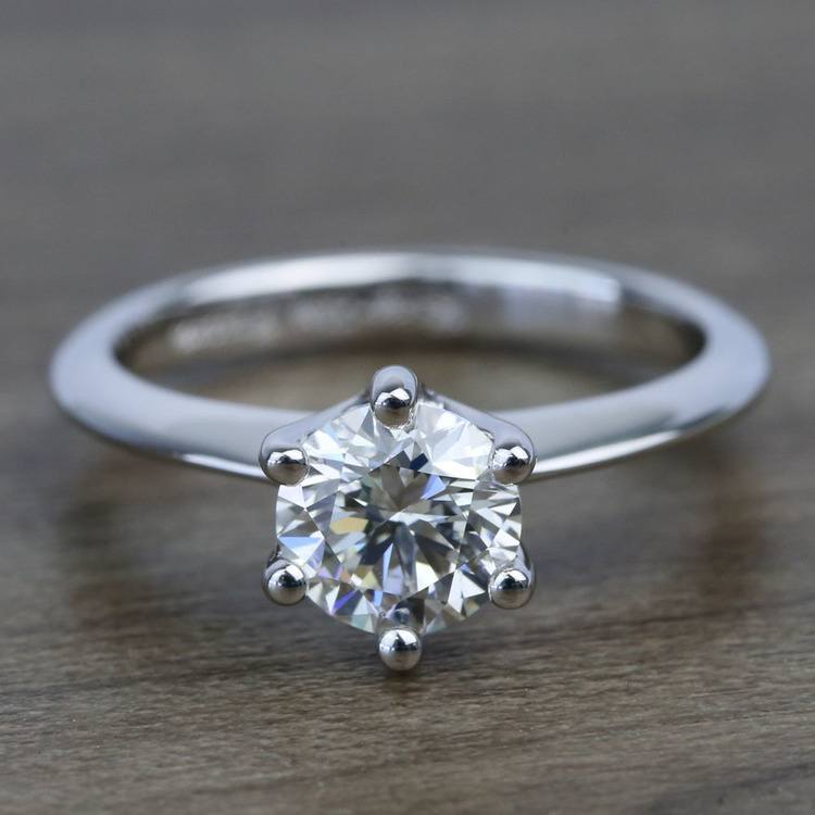 Classic Six Prong Solitaire Round Diamond Engagement Ring (0.92 Carat)