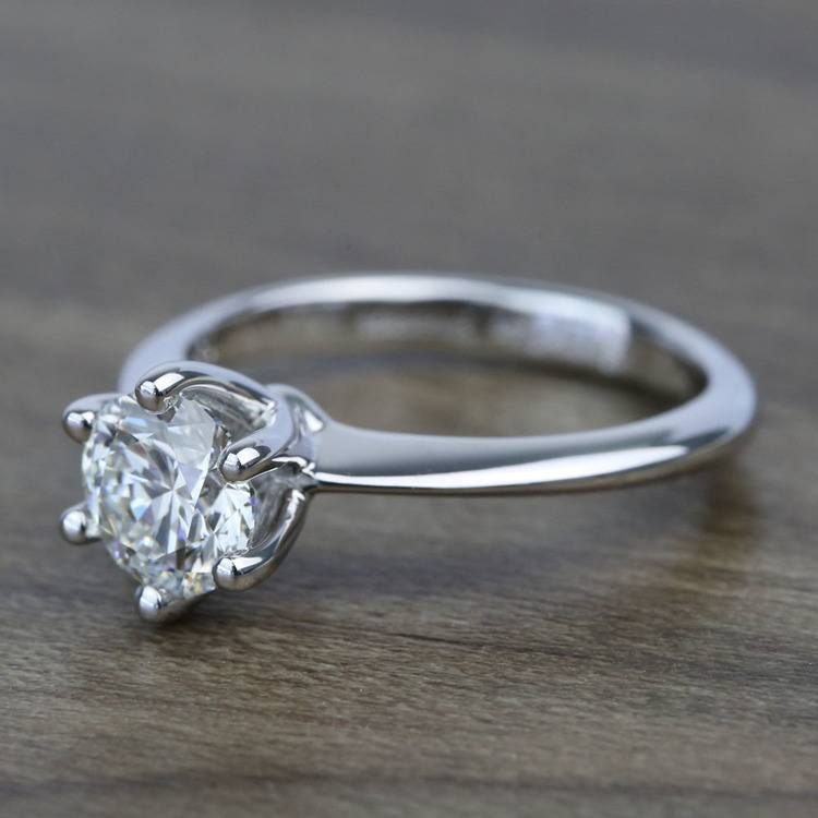 Classic Six Prong Solitaire Round Diamond Engagement Ring (0.92 Carat) angle 2