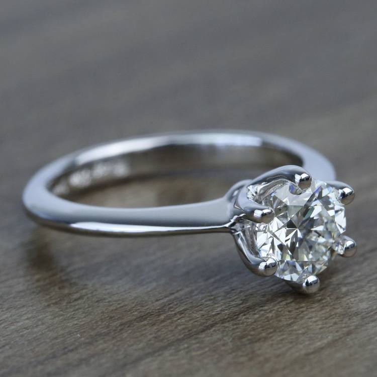 Classic Six Prong Solitaire Round Diamond Engagement Ring (0.92 Carat) angle 3
