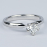 Colorless Solitaire Heart Diamond Engagement Ring  - small angle 3