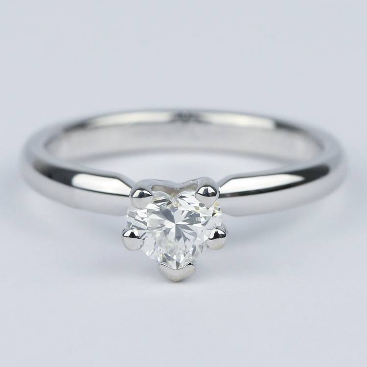 Colorless Solitaire Heart Diamond Engagement Ring