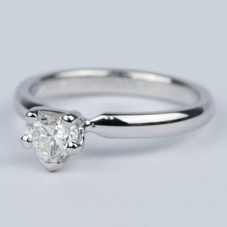 Colorless Solitaire Heart Diamond Engagement Ring  angle 2
