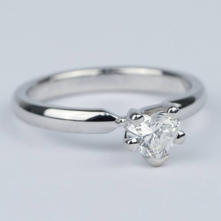 Colorless Solitaire Heart Diamond Engagement Ring  angle 3
