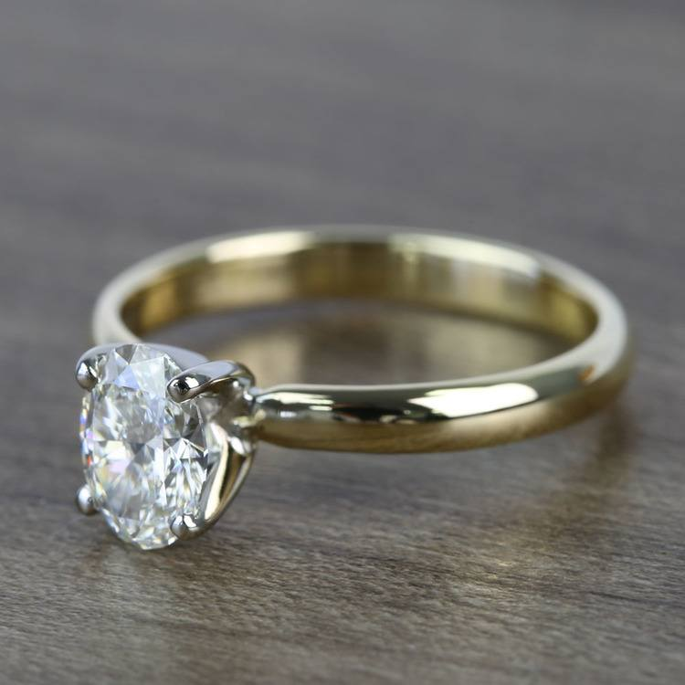 Classic Solitaire 0.72 Carat Oval Diamond Engagement Ring angle 2