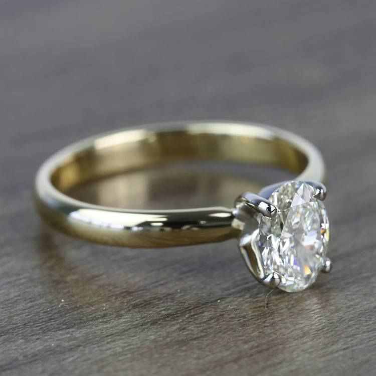 Classic Solitaire 0.72 Carat Oval Diamond Engagement Ring angle 3