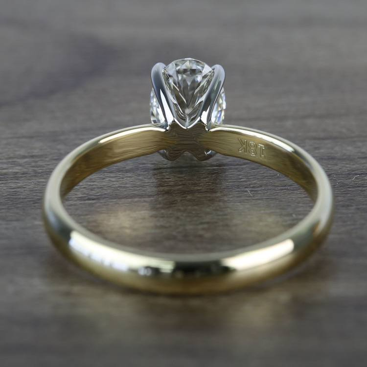 Classic Solitaire 0.72 Carat Oval Diamond Engagement Ring angle 4