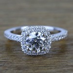 0.90 Carat Square Halo Round Diamond Engagement Ring - small