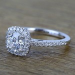 0.90 Carat Square Halo Round Diamond Engagement Ring - small angle 2