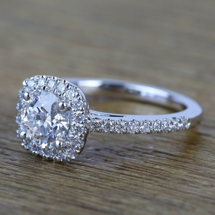 0.90 Carat Square Halo Round Diamond Engagement Ring angle 2