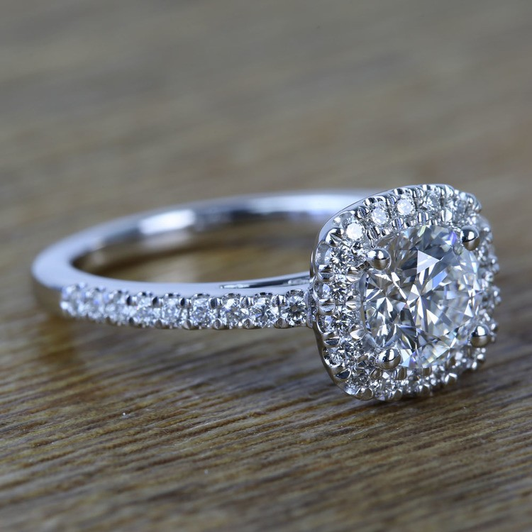 0.90 Carat Square Halo Round Diamond Engagement Ring angle 3