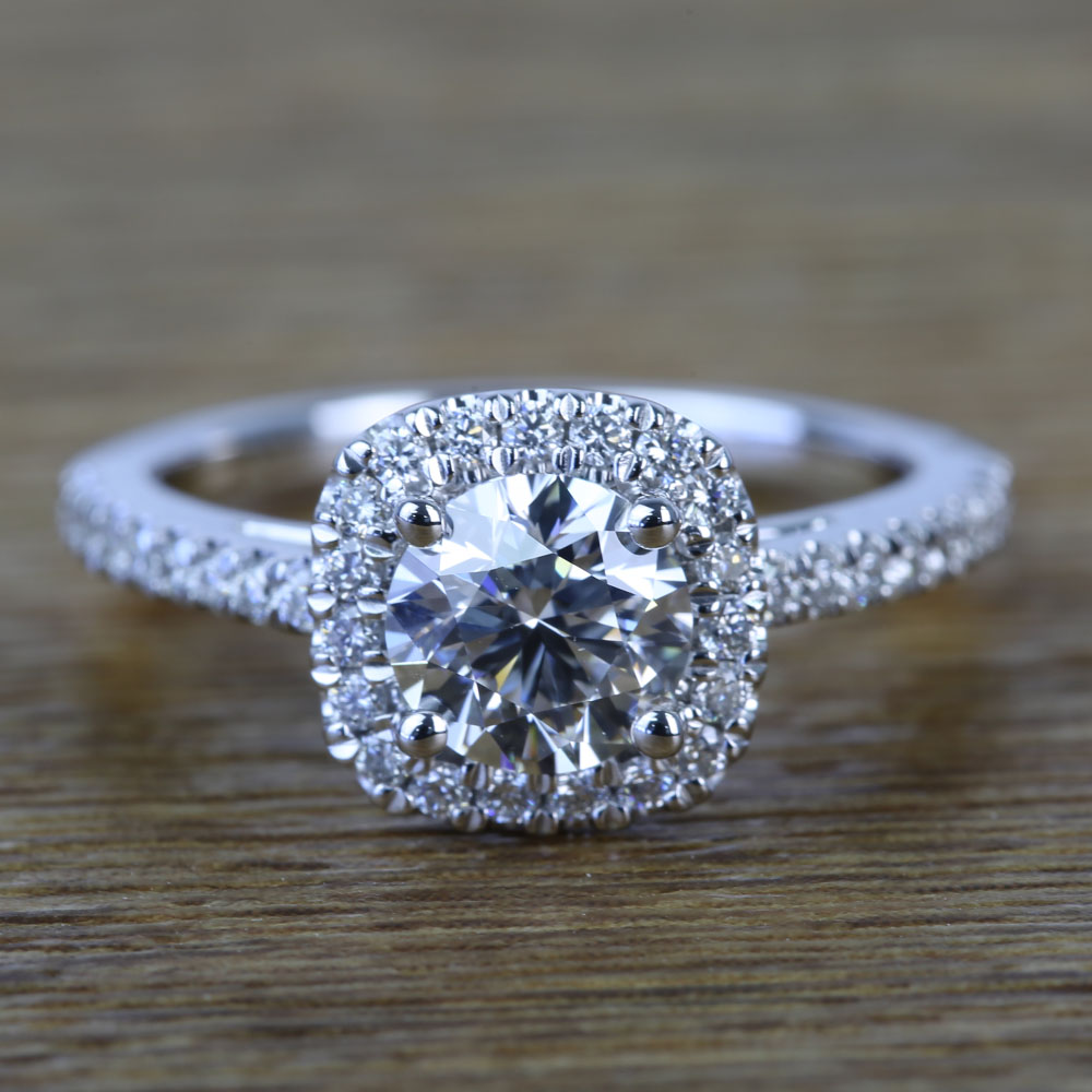 0 90 Carat Square Halo Round Diamond Engagement Ring