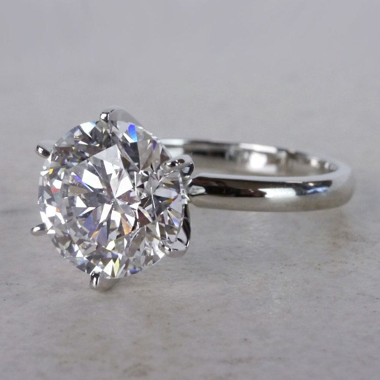 Classic Solitaire 4 Carat Diamond Ring angle 2